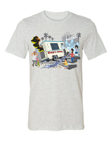 2019 Wondercon Bob's Burgers Fountain Truck tee – Ash white/gray (pickup only)