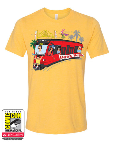 SDCC 2018 Exclusive Trolley Tee Heather Yellow Gold Triblend (SDCC pickup only)