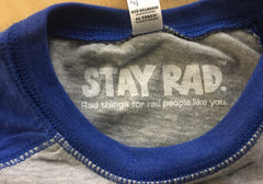 classic stay rad logo shirt - youth heather gray/royal baseball