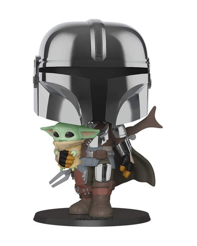 "(LARGE) Funko POP! Star Wars 10"" Inch Chrome Mandalorian with The Child"