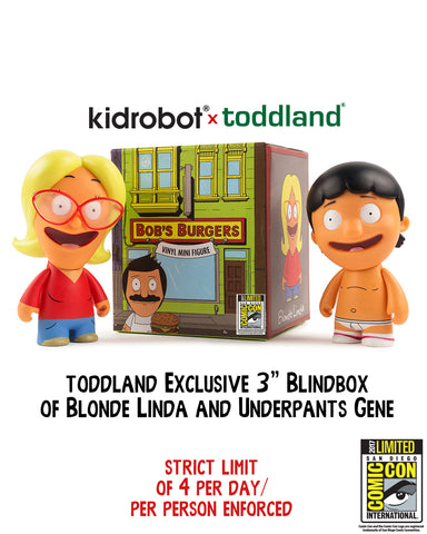 "2017 Bob's Burgers - Kidrobot x toddland (exclusive) x Bob's Burgers 3"" Blindbox - Gene or Linda (Wondercon pickup only)"