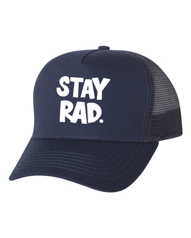 stay rad logo cap - all navy trucker