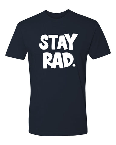 classic stay rad logo shirt - mens navy