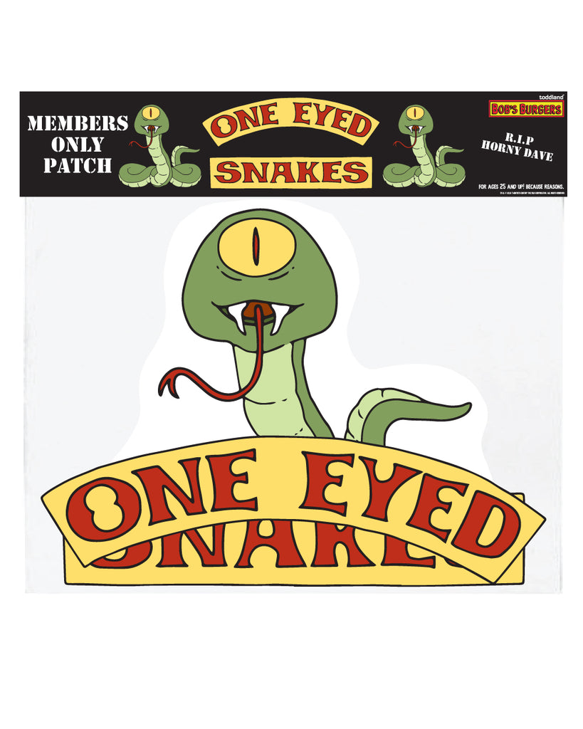 Bob's Burgers Ones Eyed Snake LARGE vest patches