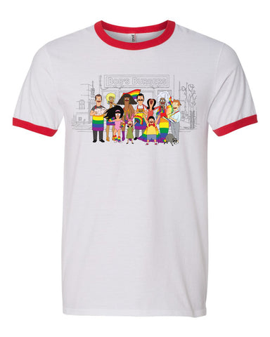 2019 Wondercon Bob's Burgers Pride tee – white/red ringer (pickup only)