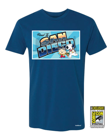 2017 Family Guy - Postcard Road to San Diego tee - Royal Blue