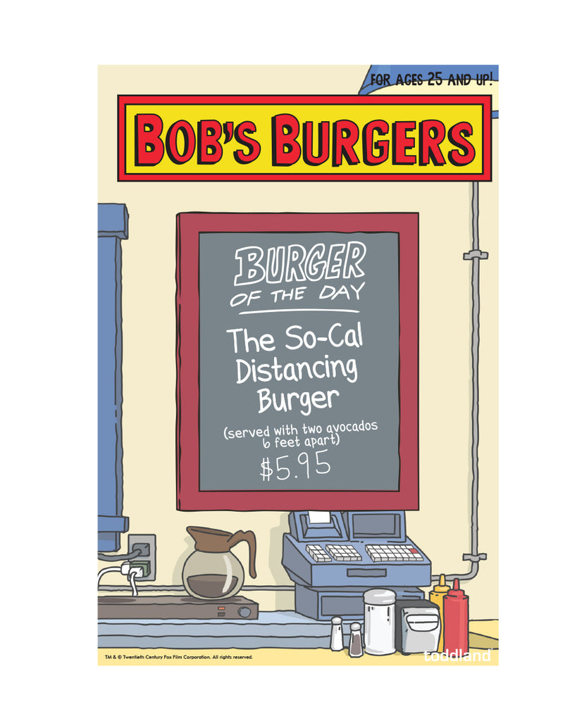 2020 Bob's Burgers So-Cal Distancing Burger of the Day enamel pin (limited edition of 550)