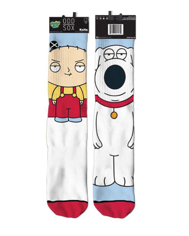 2017 Family Guy - Stewie/Brian, knit in socks from ODDSOX