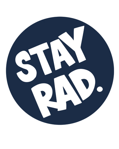 "stay rad ""official"" sticker - 4"" round navy blue"