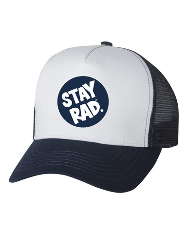 stay rad logo cap - white front panel navy trucker