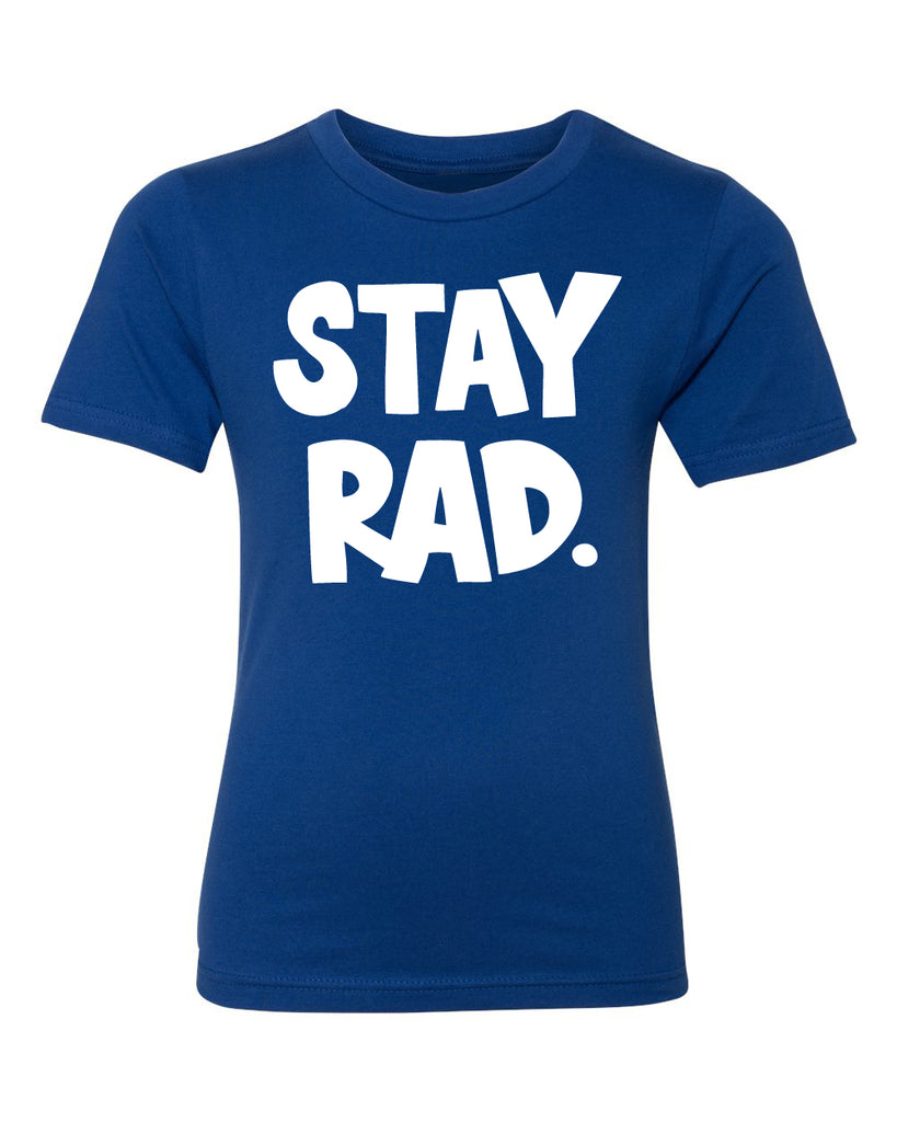 classic stay rad logo shirt - youth royal