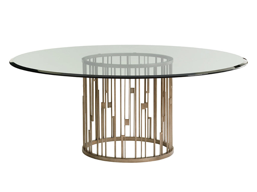 Rendezvous Round Metal Dining Table With Glass Top