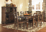 Porter Rustic Brown Rectangular Dining Table w/6 Chairs