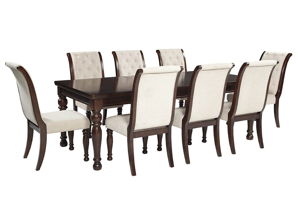 Porter Rustic Brown Rectangular Dining Table w/8 Chairs