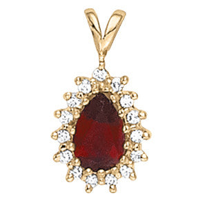 Pear Shaped Garnet Halo Pendant