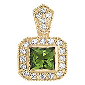 Peridot Diamond Halo Pendant