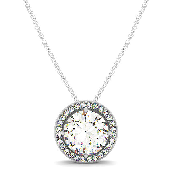 2 Carat Diamond Halo Pendant