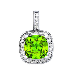 Peridot Cushion Halo Pendant