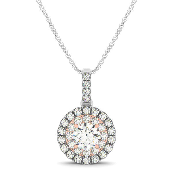 Double Halo Two-Tone Diamond Pendant