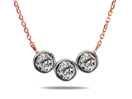 Triple Diamond Necklace Special - 14kt Rose Gold