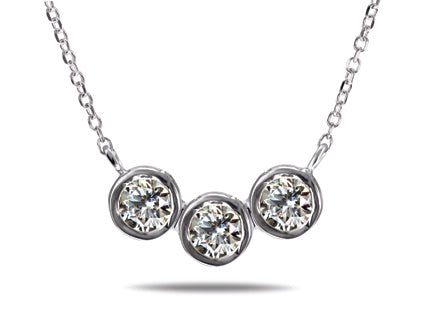 Triple Diamond Necklace Special - 14kt White Gold