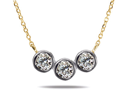 Triple Diamond Necklace Special - 14kt Yellow Gold