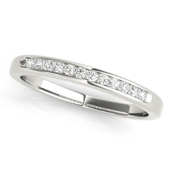1/3 Around Narrow Channel Wedding Band in White Gold