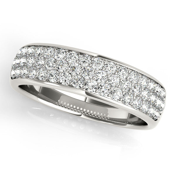 Pave Diamond Wide Wedding Band
