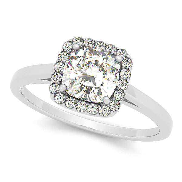 Charming Cushion Halo Engagement Ring