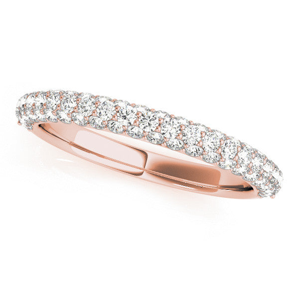 Pave Diamond Wedding Band in Rose Gold