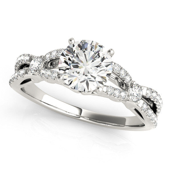 Round Solitaire Infinity Band Engagement Ring