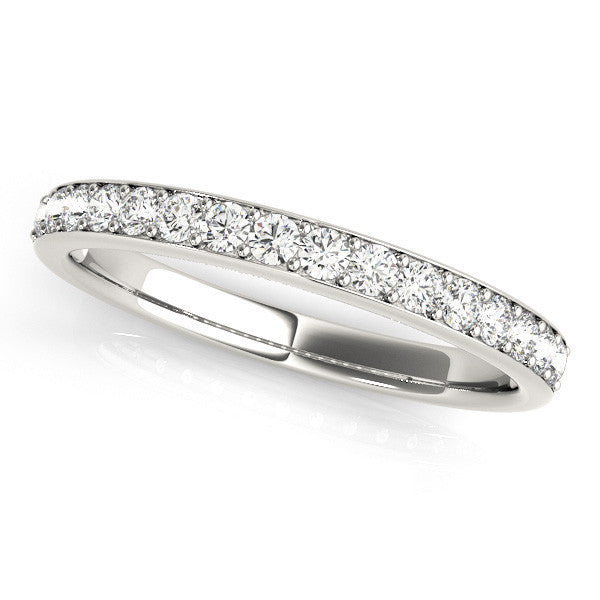 1/2 Around Channel Style Wedding Band in White Gold