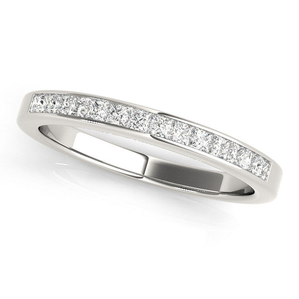 1/3 Around Channel Set Wedding Band in White Gold