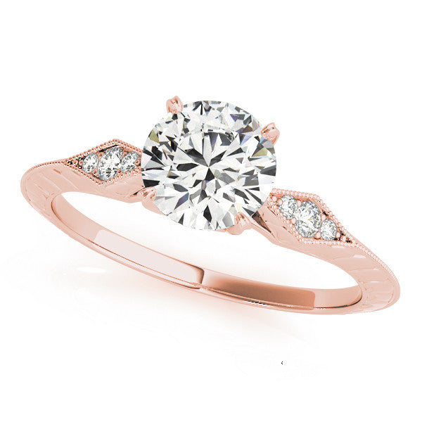 Accented Round Solitaire Engagement Ring