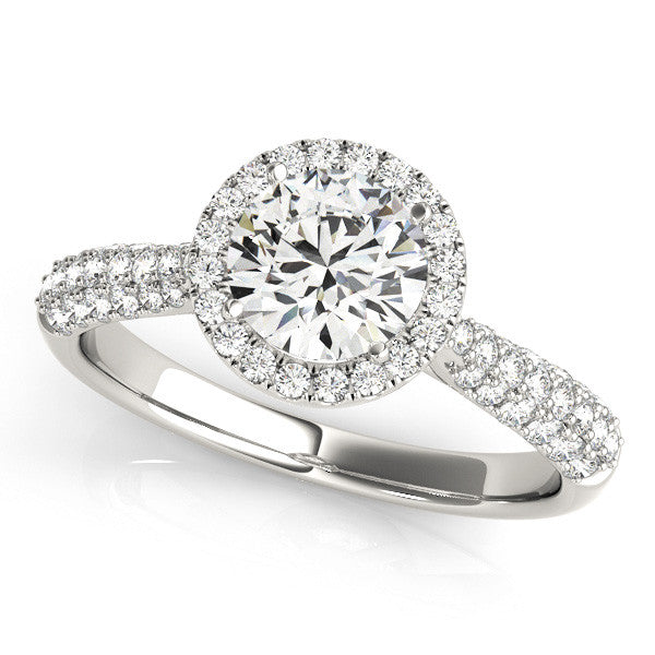 Lustrous Round Halo Engagement Ring