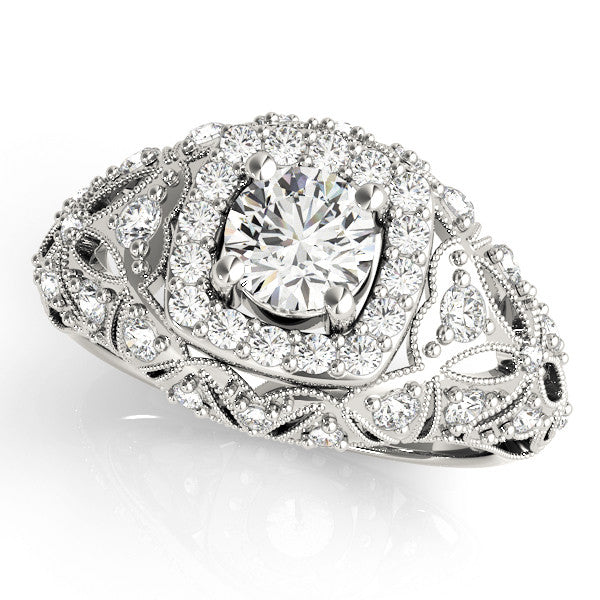Detailed Cushion Halo Engagement Ring