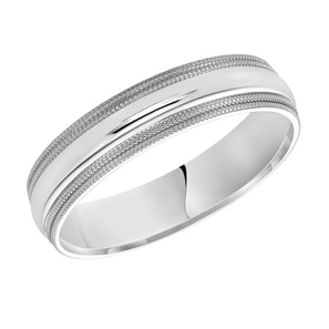 Milgrain White Gold Wedding Band