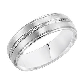 Brushed White Gold Wedding Band