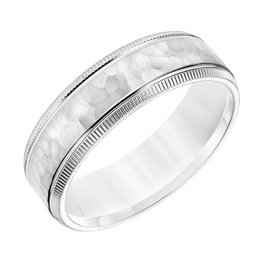 Hammered and Coin Edge Wedding Band