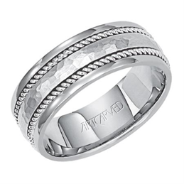 Hammered and Rope Detailed Wedding Band