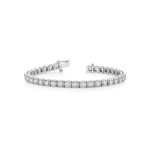 Square Box Link Diamond Bracelet