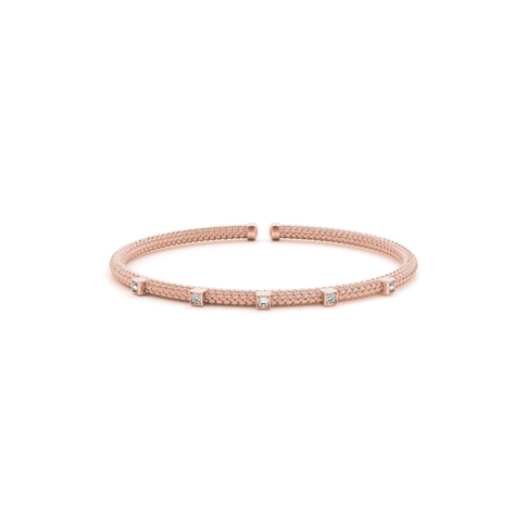 Rose Gold Stackable Diamond Flex Bangle