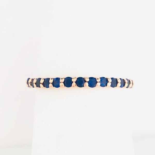 Blue Sapphire Stacking Ring - Rose Gold