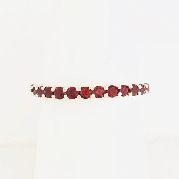 Garnet Stacking Ring - White Gold