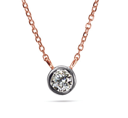 1/6 Carat Diamond Necklace Special - 14kt Rose Gold