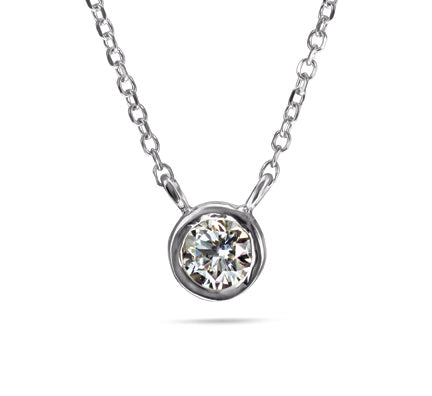 1/6 Carat Diamond Necklace Special - 14kt White Gold