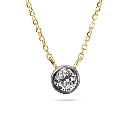 1/6 Carat Diamond Necklace Special - 14kt Yellow Gold