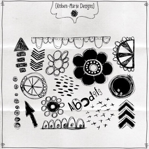 Mixed Media Essentials Rubber Stamp Sheet