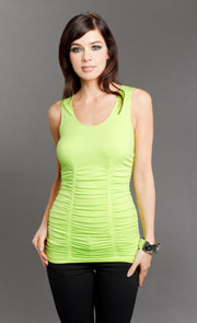 Seamless Tank with Ruching - Scoop Neck