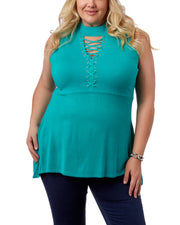 Sleeveless Tunic With Lacing Detail & High Collar - Plus Size